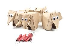 Origami elephants recycle paper Stock Photos
