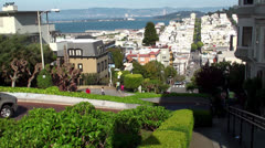Car traffic at the Lombard street. San Francisco, California, USA. Stock Footage