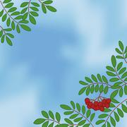 Background with rowanberry on sky - stock illustration