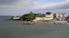 Tenby Pembrokeshire West Wales coast UK Stock Footage