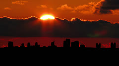 California Sacramento skyline sunset Stock Footage