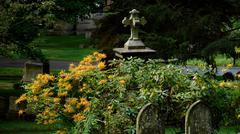 Orange Flowers and Cross Stock Photos