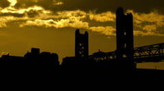 California Sacramento Tower Bridge sunset clouds Stock Footage