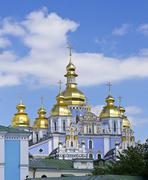 St. michael's golden-domed monastery - famous church complex in kiev, ukraine Stock Photos