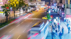 Timelapse of night city traffic in Antalya, Turkey - stock footage