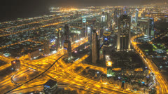 The stunning Dubai skyline time lapse at night - stock footage