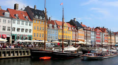Boats in Nyhavn Stock Footage