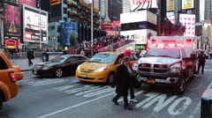 Ambulance in Times Square Manhattan, New York Stock Footage
