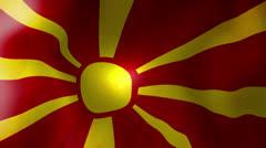 Macedonian flag - looping, waving, paning, a beautiful finish looping flag an Stock Footage