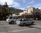 JACKSON, WYOMING - city center street traffic Stock Footage