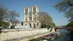 Notre dame cathedral, paris, tour boat, france Stock Footage