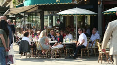 People sit at paris cafe, deux magots, france Stock Footage