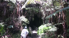 Lava tube ,visitors Stock Footage