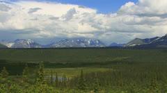 Vast Alaskan Scenic Tundra and Mountains Overlook Stock Footage