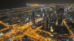 Time lapse zooming into downtown Dubai at night Stock Footage