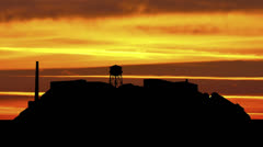 San Francisco Alcatraz sunset stripes - stock footage