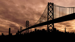 San Francisco Bay Bridge dusk Stock Footage