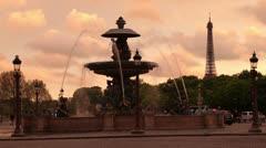place de la concorde at sunset, paris, france - stock footage
