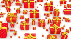 Many red gifts lay in white backround with alpha - stock footage