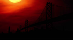 San Francisco Bay Bridge sunset Stock Footage