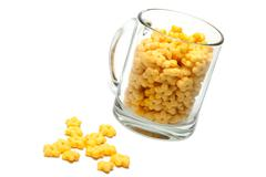 glass cup full dry morning meal - stock photo