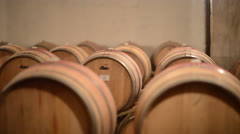 Wine barrels - dolly / track shot - stock footage