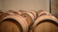 Stock Video Footage of Wine barrels - dolly / track shot