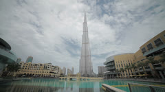 The Dubai Mall complex and Burj Khalifa - stock footage
