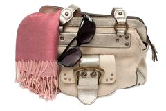 lady hand-bag in rose charge - stock photo