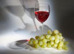 goblet red wine, white grape - stock photo