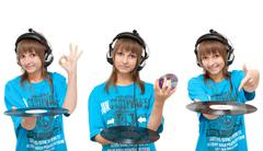Girl with vinyl disk and cd-disk Stock Photos