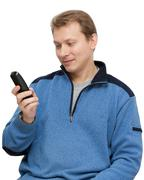 Man with telephone in hand Stock Photos