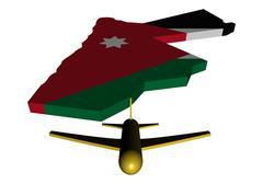 plane taking off from jordan map flag illustration - stock illustration