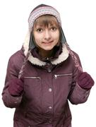 Stock Photo of young beautiful girl in winter to jacket and hat
