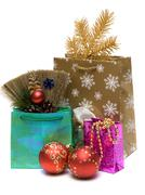 Gift and new year's embellishment Stock Photos