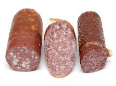three pieces of the sausage - stock photo