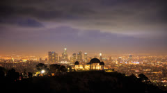 Griffith Observatory and downtown Los Angeles timelapse Stock Footage
