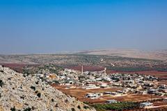 Syyria - tyypillinen pieni kaupunki Kuvituskuvat