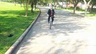 Stock Video Footage of green concept businessman on bike riding to work