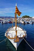 Catalan boat in mediterranean marina Stock Photos