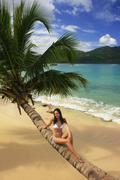 Young woman in bikini sitting on leaning palm tree at rincon beach Stock Photos