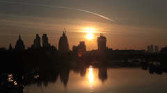 London - Sunrise 2 - River Thames and London Skyline Stock Footage