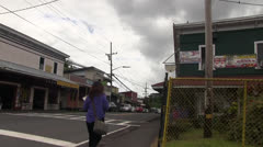 Pahoa, Hawaii big island, woman walking Stock Footage