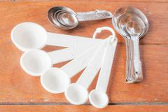 Many types of bakery  measuring spoons on wood table Stock Photos