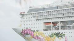 Norwegian Cruiseline departure Stock Footage