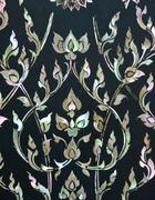 thai floral art with mother of pearl inlay - stock photo