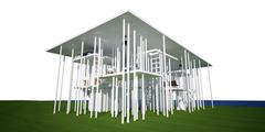 3d conceptual house, on white background - stock illustration