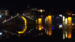 Stone bridges with neon lights in Chinese ancient town, Xitang Stock Footage