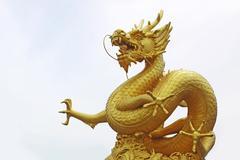 Golden dragon statue, phuket thailand Stock Photos