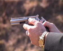 revolver being fired - stock footage